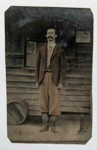 c1870 UNCOMMON, TINTED, FULL LENGTH PORTRAIT, MAN at RUSTIC BUILDING EXTERIOR