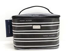 Tommy Hilfiger Cosmetic Case Bag Train Case Black White Stripe Logo New! NWT
