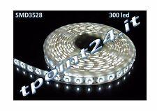 "STRISCIA LED BIANCA SMD3528 300 LED 5 METRI STRIP LUCE FREDDA ""IMPERMEABILE"""
