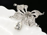sparkly crystal bowtie tear stone silver plated Brooch pin scarf accessory D03
