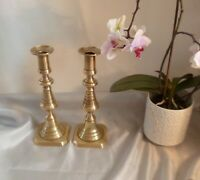 Large Antique Pair of Victorian Brass Candlesticks-Circa 1860