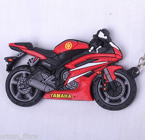 Yamaha R1 R6 Red Keyring Keyfob Chain Ring Motorbike Engine Exhaust 3D Carbon