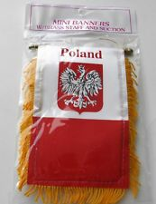 Poland Eagle MINI BANNER FLAG GREAT FOR CAR & HOME WINDOW MIRROR HANGING 2 SIDED