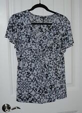 Womens Daisy Fuentes Tie Dye Gathered Bust Silky V Neck Shirt - Sz Large