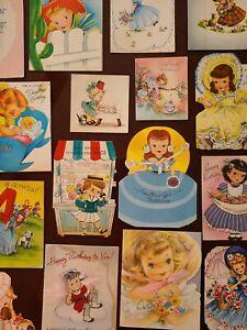 22 Vtg Birthday Greeting Card ALL Diecut ALL GIRLS Scrapbook Lot B- 1940s-50s