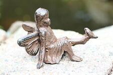 Gusseisen Elfe mit Vogel auf dem Fuß Garten Deko Metall braun Figur Skulptur