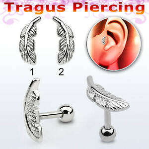 Ear Tragus Stud Piercing Labret 316L Surgical Steel Earrings Helix Feather Top