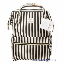 Anello Black White Stripe Japan Unisex Fashion Backpack Rucksack Diaper Bag