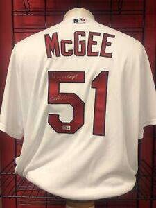 Willie McGee St. Louis Cardinals Signed Home Jersey  Beckett COA BAS