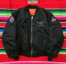 VTG ARMAGEDDON Film Crew Alpha Industries black MA 1 bomber jacket XL 90's USA