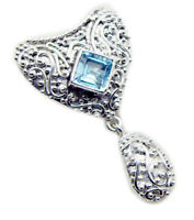 appealing Blue Topaz 925 Sterling Silver Blue Pendant Natural supplies US gift