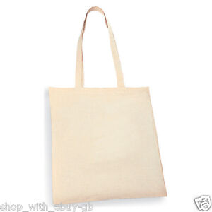 1 - 50 Pack 100% Premium Cotton Shopper Canvas Shopping WholeSale Shoulder Bag