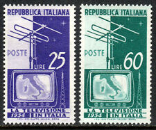 Italy 649-650,MNH.Introduction of natl. television service.TV screen,aerial,1954