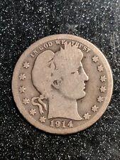 "1914-S San Francisco Mint Silver Barber Quarter, ""Y"", some Epu, G+/Vg"