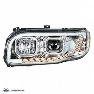peterbilt 389 388 chrome projection Headlight pair driver passenger w/led signal