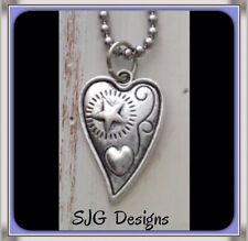Antique silver FLICK inspired Heart on-Imitation Rhodium Plated Ball chain