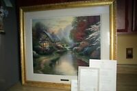 S/N Thomas Kinkade 24x20 A QUIET EVENING Framed Picture Print Serigraph w COA