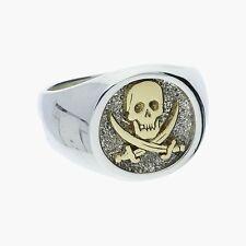 jr designs / sterling silver & 14k gold mens skull & crossbones / ring 10.25
