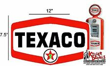 "(TEXA-12) 12"" X 7.75"" TEXACO SHIELD WITH STAR GASOLINE GAS PUMP OIL TANK DECAL"