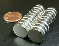 "20 Large Neodymium N52 disc magnets. Super Strong Rare Earth 1/2"" x 1/8"""