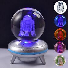 Star Wars R2 D2 3D Kristall Kugel LED Tischlampe Nachtlicht Nachttischlampe RGB