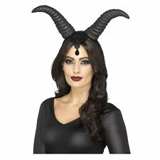Smiffys Demonic Queen Horns on Headband Black With Lace - Female
