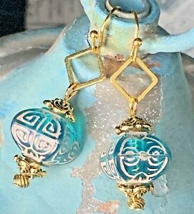Gold Tone with Etched Aqua Lantern Bead Dangle Earrings. Light Weight. Teal