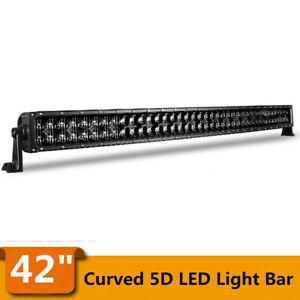 400W 42inch LED Light Bar Curved Flood Spot Combo Truck Roof Driving 4X4 Offroad