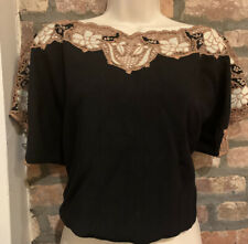 70's VTG Bali Embroidered Cut Work Crocheted Blouse Top Rayon Crochet 80s RARE