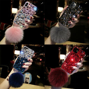 For Samsung S20 S10 S9 Note20 10 9 Luxury Bling Full Diamond Case w/ Plush Ball