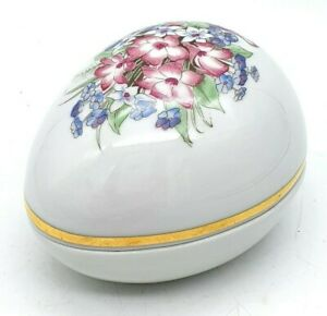 Schwarzenhammer Porcelain Egg Shaped Jewellery Trinket Box - Beautiful condition
