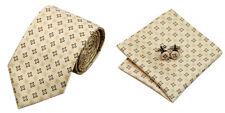 Yellow Novelty 100% Silk Classic Mens Necktie Tie Hanky Cufflink Set NT131