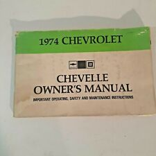Owners Manual 1974 Chevelle Original Factory Maintenance Guide Chevrolet Gm