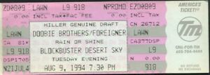 DOOBIE BROTHERS & FOREIGNER CONCERT TICKET NOT STUB 8/9/94 DESERT SKY PHOENIX AZ