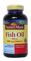Nature Made Fish Oil 1200mg with 360mg Omega-3 XL Size Bottle 200 Ct Expired