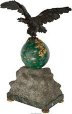 A Malachite, Bronze, Marble, And Limestone Eagle Mantel Clock Marks. Lot 65203