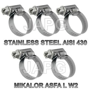 PACK 5X STAINLESS STEEL, 16MM-27MM, HOSE CLAMP, HOSE CLIP, JUBILEE CLIP, MIKALOR