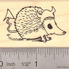 Hedgehog in Devil Costume Rubber Stamp Halloween, cute, small pet E14117  WM