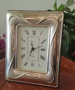 Vintage 925 Sterling Silver Quartz Clock ,Made in Germany 170/220mm