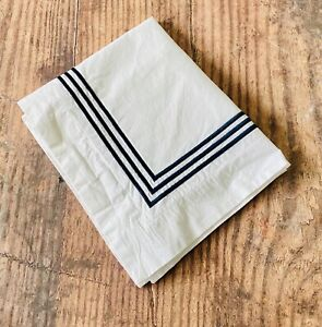 Pottery Barn Triple Row Embroidered Navy Blue Statin Stitch Boudoir Pillow Sham