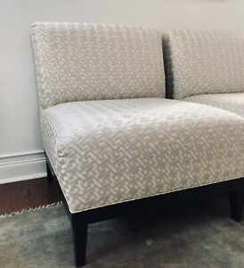 White Slipper Chairs Pair Upholstered in David Hicks Fabric Embroidered
