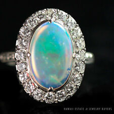 VINTAGE JELLY OPAL CABOCHON & 2CTW DIAMOND PLATINUM RING SIZE 6