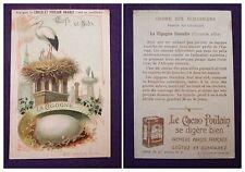 CARTE IMAGE CHROMO RECLAME CHOCOLAT POULAIN ORANGE N°2 LA CIGOGNE BLANCHE