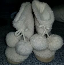 Baby Girls Toddler Faux Fur Boots with Pom Poms Skid Safe Grippers Size 9-10