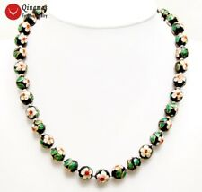 12mm Black Round Flower Cloisonne Necklace for Women 20'' Chokers Necklace 6454