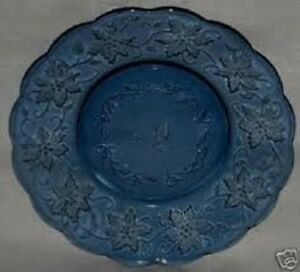 PRINCESS HOUSE FANTASIA SAPPHIRE BLUE SCALLOPED LUNCHEON PLATES SET OF 4