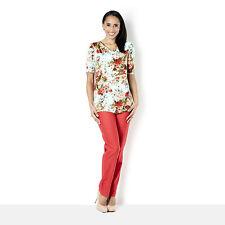 Kim & Co Tea Party Venechia Drape Neck S/Sleeve Floral Top Size XL BNWT Aqua