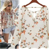 Women Ladies Chiffon Slouch T-Shirt Floral Printed Long Sleeve Blouse Casual Top