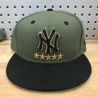 New York Yankees MLB Baseball New Era 59FIFTY 5-Star Military Green Hat EUC RARE