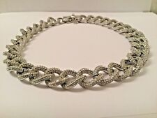 MICHAEL KORS SILVERTONE PAVE CRYSTAL LINK TOGGLE STATEMENT NECKLACE NEW  $425